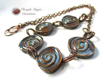 Blue & Brown Boho Necklace, Earthy Colors Ceramic Spiral Swirls, Antiqued Copper Chain, Rustic Primitive Unisex Adjustable Necklace N302