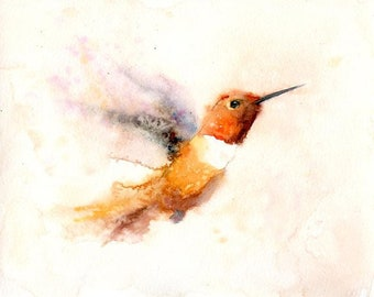 Hummingbird, bird painting, bird art,Original watercolor painting 10x8inch