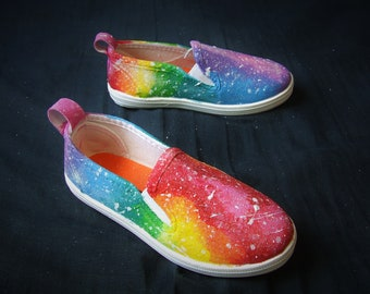 SALE One Size Glow In The Dark Glitter Rainbow Galaxy Shoes Kids Size 7