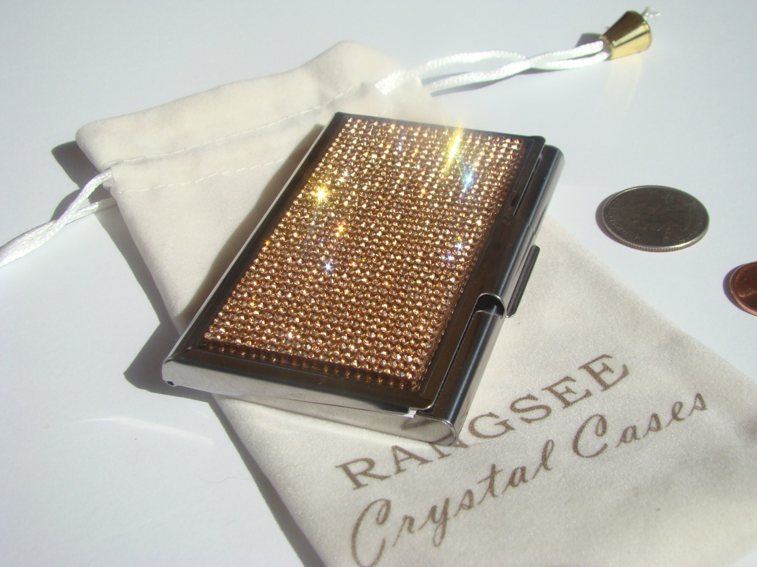Business Card / Sewing Needle Case Case Rose Gold Rhinestone ...