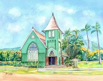 Hanalei Church, 8x10 prints, Hanalei Green Church, Waioli huiia church Kauai, kauai artist, hawaiian art galleries, Hawaii, kauai fine art,