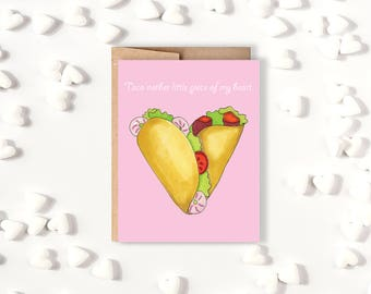 Taco'nother Little Piece of My Heart // Taco Valentine's Day Card // Funny Love Card // Cute // Spring Summer Anniversary Card