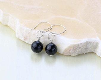 Black Onyx Earrings- Sterling Silver Black Stone Earrings- Tiny Black Gemstone Earrings - Root Chakra