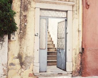 "Door Photograph, Architecture Print, Pastel Wall Art, Old Door, Stairway, Greece Travel Photography, Peach Pale Blue ""Pastel Doorway"""