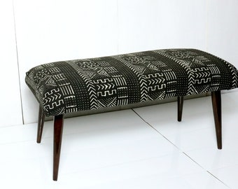 Black and White Mud Cloth Bench / African Mudcloth Ottoman Global Textile Blue White African Modern Dining Bench Coffee Table Mid Century