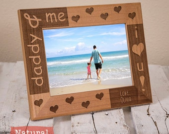 Daddy & Me Personalized Picture Frame - Dad Birthday Gift - Fathers Day Gift - Gifts for Dad - Wood Engraved