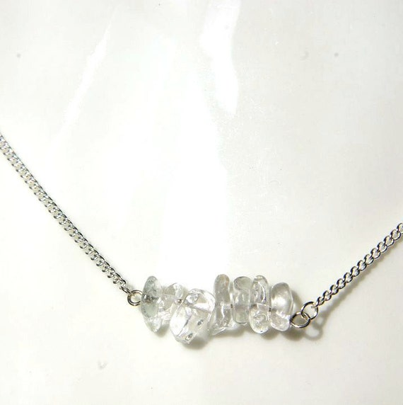 Crystal Bar Necklace on 925 Silver, Crystal Gemstone, Quartz Necklaces Jewelry, Gift for Her, Quartz Gemstone bar, Zodiac necklace