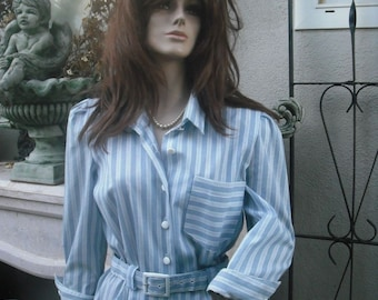 Vintage 80s Dress, Shirtdress, Periwinkle, Nautical, Crisp Blue and White Stripe, MEDIUM, BUST up to 36