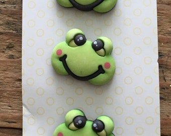 """SALE Frog Buttons, Baby Hugs Collection """"Froggy"""" by Buttons Galore, Carded Set of 3 Buttons, Cute, Bright, Shank Back Buttons, Embellishment"""