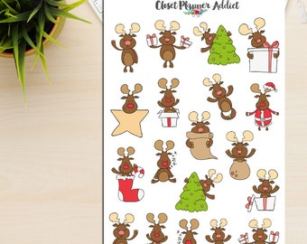 Cute Christmas Reindeer Planner Stickers | Christmas Stickers | Reindeer Stickers | Christmas Tree Stickers | Funny Christmas (S-176)