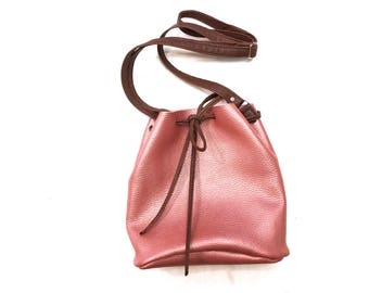 Crossbody bag/ Leather bag/ Leather draw string bag/ Small handbag/ Small Crossbody Bag/Leather purse /Bucket bag/Rose gold leather bag