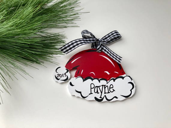 Personalized, christmas ornament,  Hand painted, Santa hat ornament, Santa hat, personalized, kid's ornament, free personalization