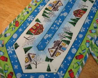 Winter houses and mittens table runner