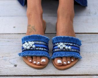 Mallorca sandals, Slides, Leather Sandals, Handmade Greek leather sandals, Genuine leather sandals