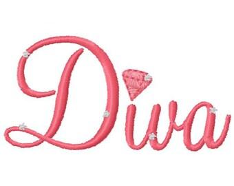 Small Diamond Diva Embroidery Design - Instant Download