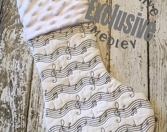 In the hoop Stocking with Cuff and Music Musical Notes Motif ITH