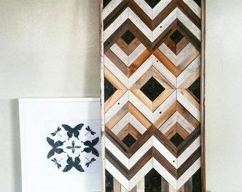 Geometric Reclaimed wood wall art with stone accents / large wood wall art / wood wall art  / reclaimed wood wall art / barn wood wall art