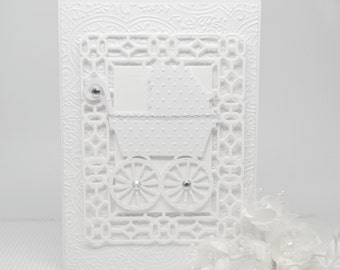 Handmade Baby Card, Luxury Baby Card, Welcome Baby Greeting Card, Christening Card, White Baby Carriage Card, Victorian Baby Card