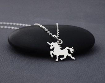 Unicorn Necklace Sterling Silver, Tiny Unicorn Charm Necklace, Fantasy Fairytale Jewelry