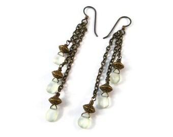 Bohemian Earrings Long Dangle Chain Gemstone Jewelry Mint Green Prehnite Teardrops