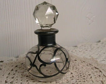 Perfume Bottle, Sterling Silver and Blown Glass Perfume Bottle with Stopper, British Sterling