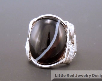 Sterling Silver Wire Wrapped Black Sardonyx Ring