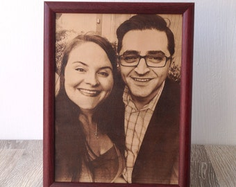 3rd Anniversary Gift, leather picture, laser engraved photograph on real leather, custom framed picture, leather engraving, unique gift