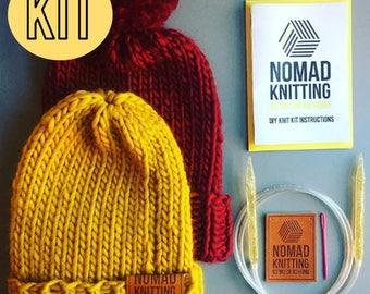 DIY Knitting Kit, Beginners Knit Kit, Beanie Hat Knit Kit, Beanie Super Chunky Knit, Pom Pom Hat, Slouchy Beanie Hat, Hat Knitting Pattern