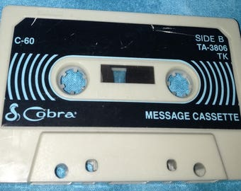 Vintage answering machine audio cassette tape with personal phone messages VERY OLD