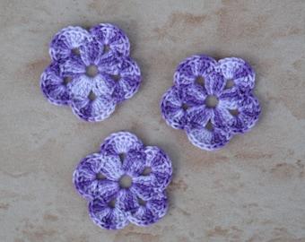 set of 3 flowers multi purple 5 petals crochet
