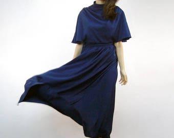 Navy Maxi Dress Hippie Boho 70s Floor Length Dress Draped 1970s Blue Summer Dress Simple Sundress - Medium M