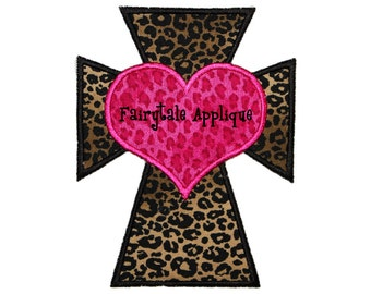 Digital Machine Embroidery Design -  Sassy Cross with Heart Applique