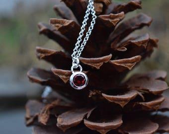 Garnet Necklace, Garnet, Faceted Garnet, Faceted Garnet Necklace, Simple garnet jewelry, red garnet necklace,