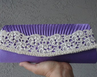 Bridal Evening Clutch Purple Satin  Adorned With Ivory Venice Lace and Beads