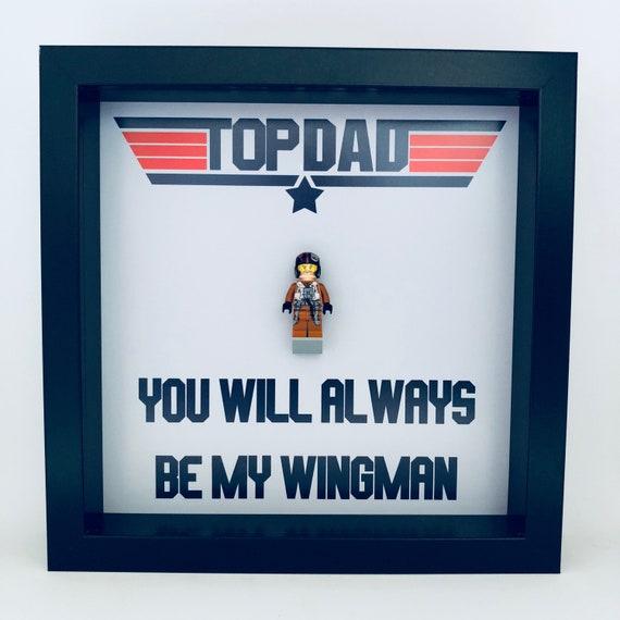 Top Gun Fathers Day Minifigure Frame, Mum, Gift, Geek, Box Frame, Friends, Dad, Idea, Framed, Birthday, For Him, Frame, Frames