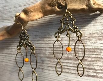 Earrings Baroque bronze