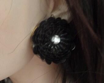 Vintage Black Sequins Flower Earrings