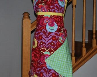 Reversible Apron - Full Apron - Women's Apron - Floral Apron----Red Floral and Mint Dot-Emmeline Pattern