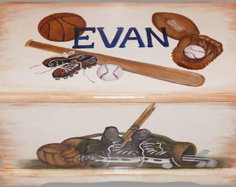 Vintage Sports Equipment Toy Chest Custom Designed, kids room decor, personalized, furniture decor, art and decor
