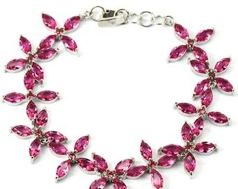 Sterling Silver Pink Tourmaline Gemstone Flower Bracelet