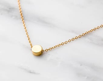 Gold Dot Necklace / Gold Dot Choker / Gold Circle Choker / Gold Circle Necklace / Simple Gold Necklace / Bridesmaid Necklace / Gift For Her