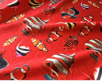 Couture fashion jacquard flower,digital print gold fish,hot red fabric,sculpture,sewing for jacket,dress,coat,children,crafting by the yard