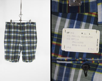 Vintage 60s Madras Shorts NOS Blue Plaid Flat Front Cotton Summer Menswear - Size 36