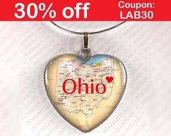 Ohio Pendant, Ohio Necklace, Ohio State, State Heart Necklace, Ohio Map, I Heart Ohio, Ohio State Necklace, Home State, Map Necklace, Charm