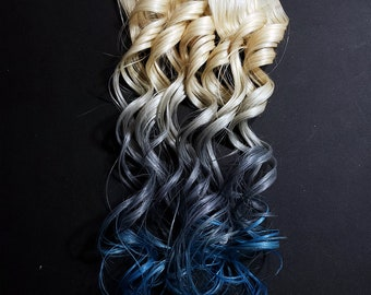 "22"" #613 Blonde Silver and Blue Ombre Seamless Tape in Human Hair Extensions Pastel Hair Mermaid Unicorn Hair For Festivals Rave Wedding"
