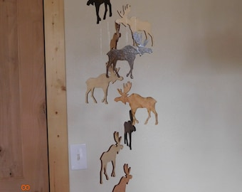 Wooden Moose Mobile Rustic