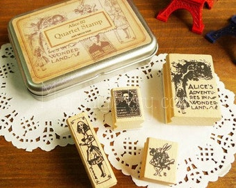 Alice Series Rubber Stamps in Tin Box - Wooden Rubber Stamp Set - Diary Stamps - 02