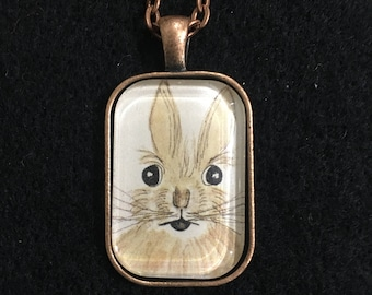 "Bunny - Copper 3/4""x1.25"" (20x30mm)  Art Pendant"