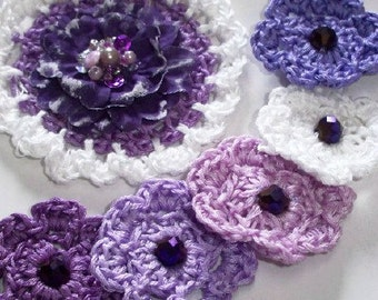 6 piece Crochet flower appliqués, Amethist bead crochet flowers with beads. Violet, Purple Flowers, appliqués, Sugar Plum Flowers, Wedding