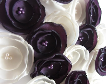 Wedding fabric flowers Purple wedding flowers Purple bridesmaids Wedding table decorations purple flowers